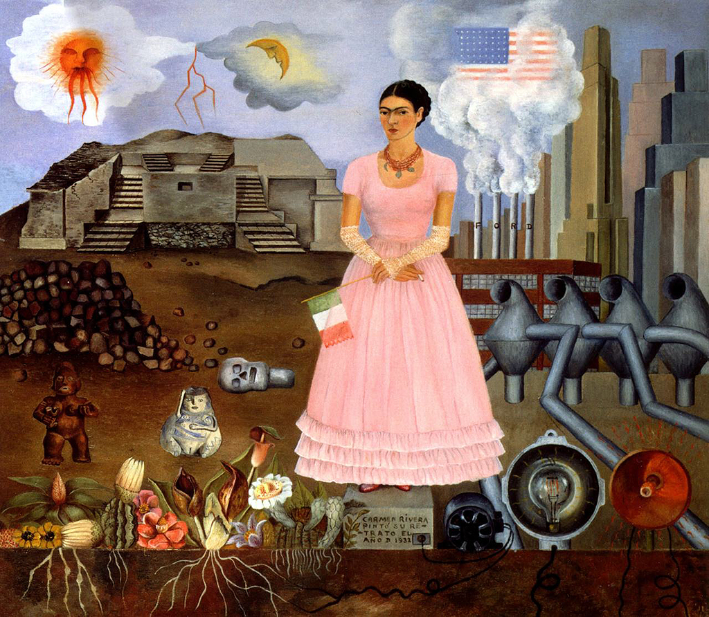 Self Portrait on the Borderline between Mexico and the United States in Detail Frida Kahlo