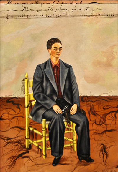 Self Portrait with Cropped Hair Frida Kahlo