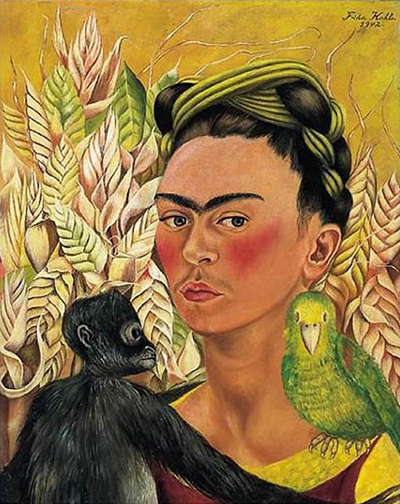 Self-Portrait with Monkey and Parrot Frida Kahlo